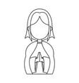 cartoon virgin mary pray spiritual christmas vector image