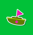 paper sticker on stylish background kids toy boat vector image