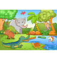 animals in forest vector image