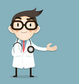 doctor tiny character greeting gesture vector image