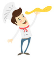 Funny chef preparing pizza dish in the kitchen vector image