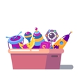 Isolated standing children cartoon toy box vector image