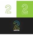 Number two 2 logo design icon set background vector image