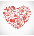 Silhouette of a heart consists of icons vector image