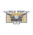wild west vintage label with revolvers vector image
