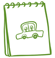 A green notebook with a car with kids at the cover vector image