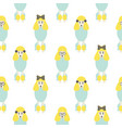 poodle cute blue and yellow seamless vector image