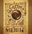 Vintage coffee typography background vector image