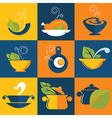 food and cook emblems vector image vector image