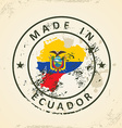 Stamp with map flag of Ecuador vector image