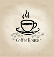 coffee cup coffee beans cafe vintage poster vector image