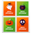 Halloween greeting card designs with ghost skull vector image