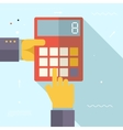 Retro Business Hands with Calculator Financial vector image