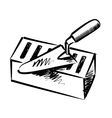 Trowel and brick vector image