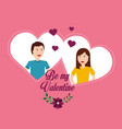valentine day couple love hearts flower romantic vector image