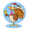 Turkey Cartoon Character Ringing A Bell vector image vector image