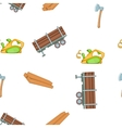 Timber elements pattern cartoon style vector image