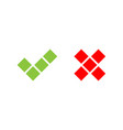 check mark icons of squares green tick and red vector image