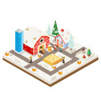 winter village agriculture farm rural house vector image