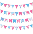 Set of multicolored flat buntings garlands with vector image