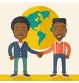 Two black guys happily handshaking vector image