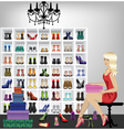 Blonde woman trying on shoes in boutique vector image