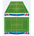 empty tennis court with set of infographic element vector image