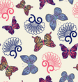 pattern with flying butterflies vector image