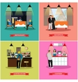 set of banners with restaurant interiors vector image