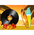 Summer sunset background with vinyl record surfing vector image