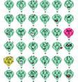 set of a green hot air balloon character emojis vector image