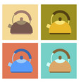 assembly flat icons coffee dishware kettle vector image