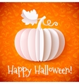 Bright Halloween white paper pumpkin vector image