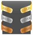 left and right side signs - gold silver bronze vector image