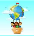 children on globe hot air balloon vector image