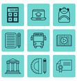 Set of 9 school icons includes electronic tool vector image