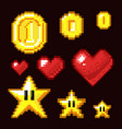 video game 8 bit assets isolated coin star and vector image
