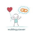 wedding planner keeps the ball in the form of a vector image