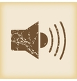 Grungy loudspeaker icon vector image