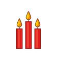 christmas three candles burning celebration vector image