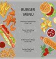 fast food restaurant menu vector image