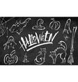 halloween clipart set on blackboard background vector image