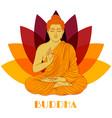 sitting buddha over lotus flower background vector image