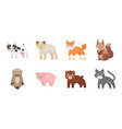 toy animals icons in set collection for design vector image