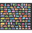 Transport icons set colored stickers vector image