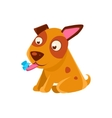 Puppy Looking At A Butterfly On Its Tongue vector image