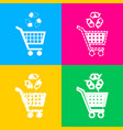 shopping cart icon with a recycle sign four styles vector image