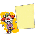 Clown on Unicle Holding Invitation Announcement vector image