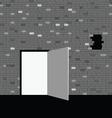 door on gray brick wall vector image