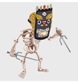 Skeleton in Ancient mask with daggers vector image